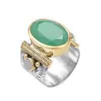 Bague Ovale XL Argent - Or Quartz Vert/ Perles