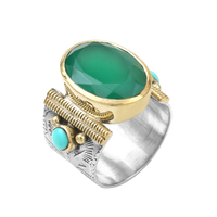 Bague Ovale XL Argent - Or Silimanite Verte/ Turquoise