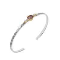 Bracelet - Jonc Ovale S Argent - Or Quartz Fraise/ Perles