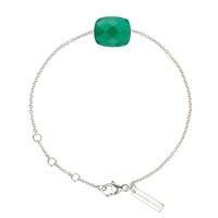 Bracelet Friandise Or Blanc Coussin Agate verte