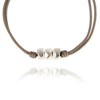 Bracelet Cailloux Cordon Taupe