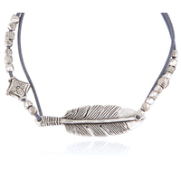 Bracelet Penna Plume Cordon Gris