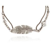 Bracelet Penna Plume Cordon Taupe