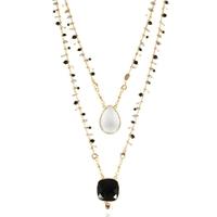 Collier Scapulaire Noir/ Blanc Or