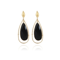 Boucles d'Oreilles Serties Cage Onyx Or