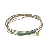 Bracelet - Multi Tours Turquoise Sauvage Tubes Gold