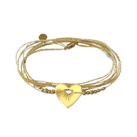 Bracelet - Multi Tours Coeur Love Gold
