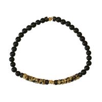 Bracelet Perles Elastique Noir Gold