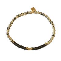 Bracelet Perles Elastique Crème Gold