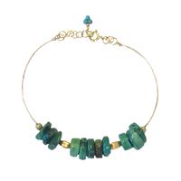 Bracelet - Fil d'Or Chips Turquoise