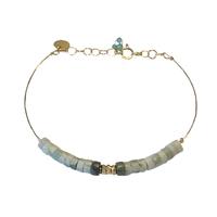 Bracelet Fil d'Or Rondelles Vert d'Eau