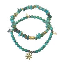 Bracelet Perles Elastique Duo Turquoise Gold