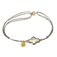Bracelet Cordon Perle d'Eau Croix Gold