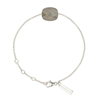 Bracelet Friandise Or blanc Coussin Pierre de Lune Grise