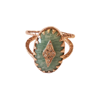 Bague Sao S - Ovale Amazonite Cristaux Rose Gold