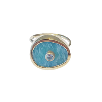 Bague Porto Ovale Amazonite Gold