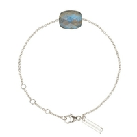 Bracelet Friandise Or blanc Coussin Labradorite