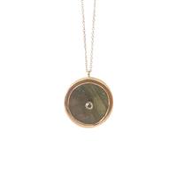 Collier Ilha - Rond Labradorite Cristal Rose Gold