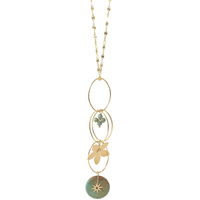 Collier - Sautoir Ovales Coeur Turquoise & Gold