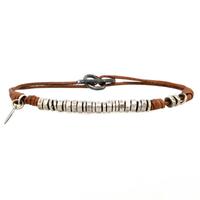 Bracelet Perles Argent Cuir