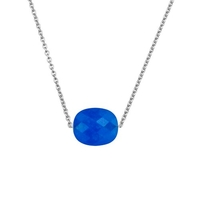 Collier Friandise Or blanc Coussin Quartz Bleu