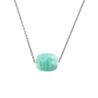Collier Friandise Or blanc Coussin Amazonite
