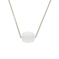 Collier Friandise Or Blanc Coussin Agate Blanche