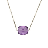 Collier Friandise Or Blanc Coussin Amethyste