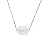 Collier Friandise Or Blanc Coussin Calcedoine