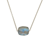 Collier Friandise Or Blanc Coussin Labradorite