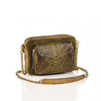 Sac Python Big Charly Kaki Dore Suede Chaine