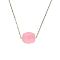 Collier Friandise Or Blanc Coussin quartz  Rose