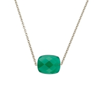 Collier Friandise Or Blanc Coussin Agate Verte