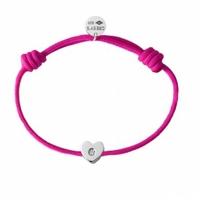 Bracelet Cordon Coeur Argent Diamant