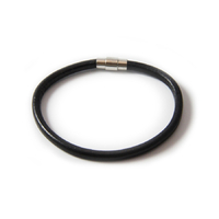 Bracelet Cartouche cuir rond noir