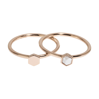 CLJ40001_Idylle Rose Gold Solid and Marble Hexagon Set of Two Rings_w