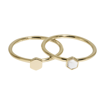 CLJ41001_Idylle Gold Solid and Marble Hexagon Set of Two Rings_w