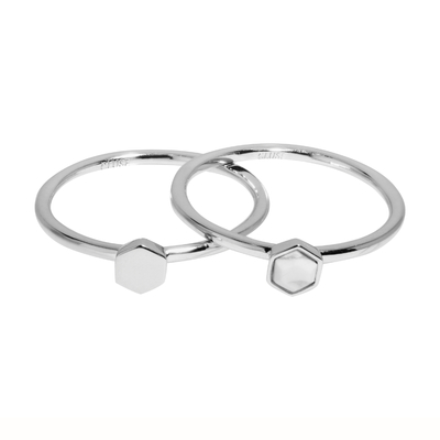 CLJ42001_Idylle Silver Solid and Marble Hexagon Set of Two Rings_w