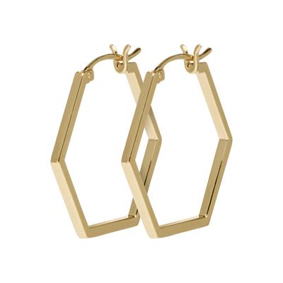 CLJ51004_Essentielle Gold Hexagonal Hoop Earrings_w