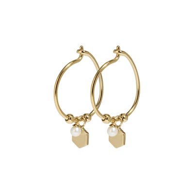 CLJ51002_Essentielle Gold Hexagon and Pearl Charm Hoop Earrings_w