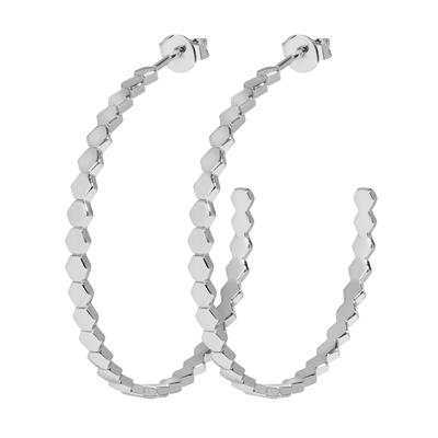 CLJ52008_Essentielle Silver All Hexagons Hoop Earrings_w