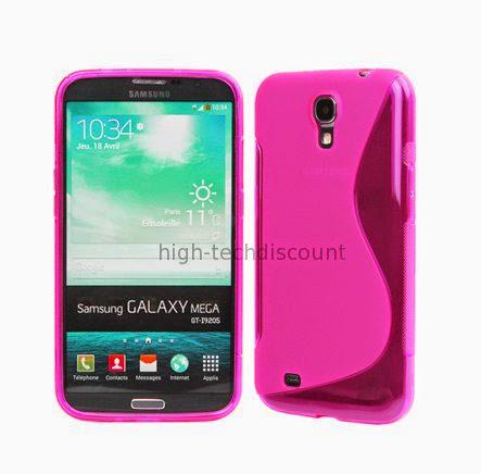 Housse etui coque silicone gel pour Samsung i9200 Galaxy Mega 6.3 film ecran - ROSE