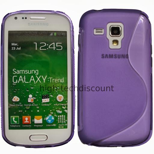 Housse etui coque silicone gel pour Samsung s7580 Galaxy Trend Plus film ecran - MAUVE