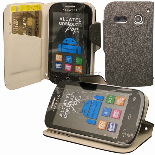 housse etui coque portefeuille pour alcatel one touch pop c3 4033d ecran noir alcatel