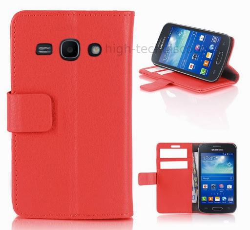 Housse etui coque portefeuille pour Samsung Galaxy Ace 3 s7270 s7275 film ecran - ROUGE