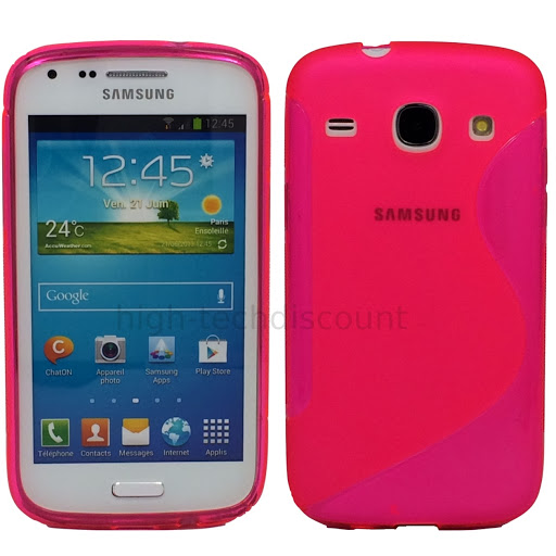 Housse etui coque silicone gel pour Samsung Galaxy Galaxy Core Plus G3500 film ecran - ROSE