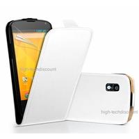 Housse etui coque cuir BLANC pour LG Google Nexus 4 + film ecran