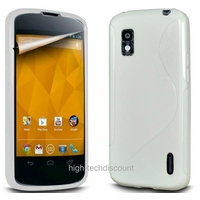 Housse etui coque silicone gel BLANC pour LG Google Nexus 4 + film ecran