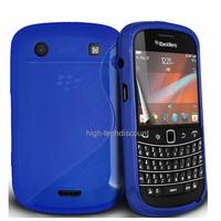 Housse etui coque silicone gel BLEU pour Blackberry 9900 Bold + film ecran