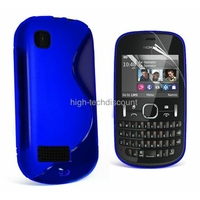 Housse etui coque silicone gel BLEU pour Nokia Asha 200 201 + film ecran